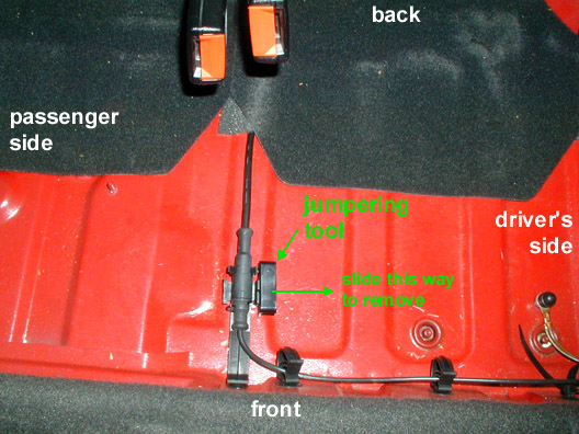vw volkswagen gti vr list old library how to jumper the here are two pics showing the location of the jumpering tool in a 1995 vw gti vr6 view from above this is the floor under the rear seat bench